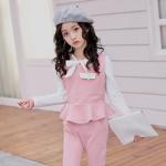 เสื้อกั๊ก+เสื้อตัวใน+กางเกง สีชมพู แพ็ค 5 ชุด ไซส์ 120-130-140-150-160 (เลือกไซส์ได้)