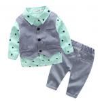 เสื้อ+เสื้อกั๊ก+กางเกง สีเขียว แพ็ค 4 ชุด ไซส์ 70-80-90-95 (เลือกไซส์ได้)