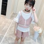 เสื้อกั๊ก+เสื้อตัวใน+กางเกง สีชมพู แพ็ค 4 ชุด ไซส์ 130-140-150-160 (เลือกไซส์ได้)