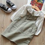 เสื้อ+เอี๊ยมกระโปรง สีเขียว แพ็ค 5 ชุด ไซส์ 7-9-11-13-15