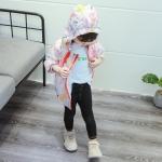 เสื้อแจ็คเก็ตลายสัตว์สีชมพูมีฮู้ดด้านหลัง [size 9m-1y-18m-2y-3y]