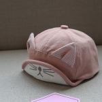 หมวกเด็กสีชมพูแต่งหูแมว
