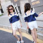 เสื้อ+กางเกง สีน้ำเงิน แพ็ค 5 ชุด ไซส์ 120-130-140-150-160 (เลือกไซส์ได้)