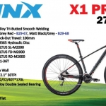 จักรยานเสือภูเขา TRINX X1 Pro ล้อ 29 นิ้ว เกียร์ 27 สปีด ดิสน้ำมัน โช้คหน้าลม เฟรมอลูมิเนียมซ่อนสาย ปี 2019