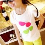 เสื้อลายแว่นตา สีขาว แพ็ค 5 ชุด ไซส์ 90-100-110-120-130