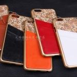 เคส iphone 6 (4.7) พลาสติกเคลือบเมลทัลลิก ประดับหนังและลายดอกไม้ แลปกตา ไม่ซ้ำใคร ราคาถูก