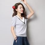 [พร้อมส่ง] T7729 เสื้อไหมพรมแบบบาง คอวี แขนสั้น Thin Knit Shirt