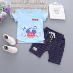 ชุดเซตเสื้อสีฟ้า hello+กางเกงสีกรมท่า [size 6m-1y-18m-2y]