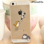 เคสไอโฟน5 / 5s เคสพลาสติกใส มีลายการ์ตูนน้องแมวน่ารักๆ สำรหับคนรักน้องแมวน่าจะถูกใจมั่กๆ