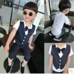 เสื้อ+กางเกง สีกรม แพ็ค 5 ชุด ไซส์ 90-100-110-120-130 (เลือกไซส์ได้)
