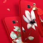 เคส Samsung C9 Pro ซิลิโคนลายดอกไม้ พร้อมสายล้องสวยมากๆ ราคาถูก