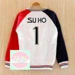 เสื้อแฟชั่น เสื้อกันหนาว EXO SUHO1 (สีขาว แดง)
