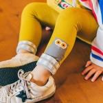 กางเกงเลคกิ้งสีเหลืองลายนกฮูกสีเทาที่ปลายขา [size 1y-2y-3y]