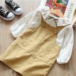 เสื้อ+เอี๊ยมกระโปรง สีเหลือง แพ็ค 5 ชุด ไซส์ 7-9-11-13-15