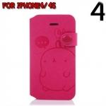 case iphone 4/4s เคสไอโฟน4/4s Molang Case กระเป๋าหนังฝาพับข้าง ด้านในเป็นซิลิโคนนิ่มๆ ใส่บัตรได้ พับตั้งได้