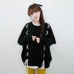 เสื้อแฟชั่น เสื้อกันหนาว Ulzzang สีดำ (แขนยาว)