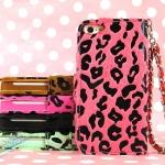 case iphone 5 เคสไอโฟน5 เคสหนังฝาพับใส่บัตรได้ ลายเสือดาว สีหวาน สวย เด่น iphone5 Leopard holster