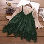 เสื้อ+เอี๊ยมกางเกง สีเขียว แพ็ค 5 ชุด ไซส์ 100-110-120-130-140