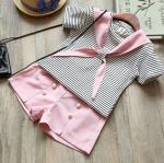 ชุดเซตเสื้อลายขวาง+กางเกงขาสั้นสีชมพู [size 2y-3y-4y-5y-6y]