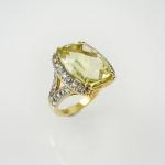 แหวนเงินพลอยเลม่อนควอตซ์ล้อมไวท์โทปาซ (Lemon Quartz Silver Ring)