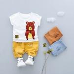 ชุดเซตเสื้อสีขาวลายน้องหมี+กางเกงสีเหลือง [size 6m-1y-2y-3y]
