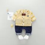 เสื้อกั๊ก+เสื้อตัวใน+กางเกง สีเหลือง แพ็ค 4 ชุด ไซส์ 70-80-90-100
