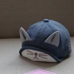 หมวกเด็กสีกรมท่าแต่งหูแมว