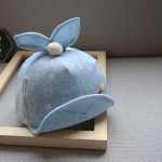 หมวกเด็กลายดาวสีฟ้าแต่งหูกระต่าย