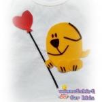 เสื้อยืดเด็ก ลายหมาถือลูกโป่ง สีเหลือง Size M
