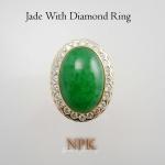 แหวนหยกล้อมเพชร Burma jade with diamond ring