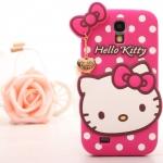 Case S4 เคส Samsung Galaxy S4 i9500 เคสซิลิโคนหน้าน้องคิตตี้น่ารักๆ เคสสีหวานพื้นลายจุด มีสายจี้ทองสวยๆ Polka Dot cartoon kitty cat pendant เคสมือถือ ราคาถูก ขายส่ง