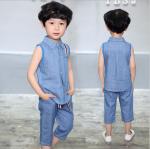 เสื้อ+กางเกง สีฟ้า แพ็ค 5 ชุด ไซส์ 90-100-110-120-130 (เลือกไซส์ได้)