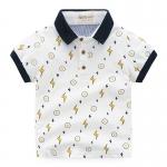 เสื้อยืดคอปกลายสายฟ้าสีขาว [size 2y-3y-4y-5y-6y]