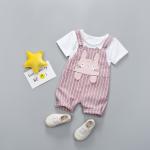 เสื้อ+เอี๊ยมกางเกง สีชมพู แพ็ค 4 ชุด ไซส์ 80-90-100-110