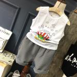 เสื้อ+กางเกง สีขาว แพ็ค 5 ชุด ไซส์ 7-9-11-13-15