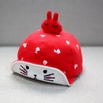 หมวกเด็กลายกระต่ายสีแดง