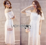Lady Emilia Bohemian Off-Shoulder Embroidered Cotton Lace Maxi Dress