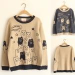 [Pre*order] MM4579 เสื้อกันหนาวไหมพรม แขนยาว ทอลายการ์ตูนน่ารักๆ สไตล์ญี่ปุ่น