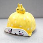 หมวกเด็กลายกระต่ายสีเหลือง