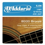 สายกีตาร์โปร่ง D'Addario EJ36 12-String Bronze Acoustic Guitar Strings, Light, 10-47