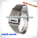 LCD Screen Display LED Watch with Stainless Steel Watchband (Display Time / Date / Week / Year)