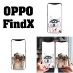 เคส OPPO Find X ลายน้องหมา เคสขอบซิลิโคน ด้านบนเว้นช่องให้กล้องสไลด์ขึ้นได้ หลังเคสเคลือบฟิล์มกระจกใสทำให้เคส เงาๆ สวยๆ