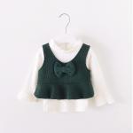 เสื้อ+เสื้อกั๊ก สีเขียว แพ็ค 4 ชุด ไซส์ 70-80-90-100