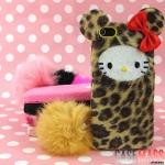 case iphone 5 เคสไอโฟน5 เคสหน้าคิตตี้กับโบว์บุขนกำมะหยี่ลายเสือดาวมีหู มีหางเป็นพวงๆ สวยๆ น่ารักๆ plush kitty bow leopard