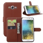เคส Samsung E7 แบบฝาพับด้านข้างหนังเทียมสีพื้นคลาสสิค ด้านในสามารถใส่บัตรได้ควรมีไว้สักอัน ราคาถูก