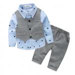 เสื้อ+เสื้อกั๊ก+กางเกง สีฟ้า แพ็ค 4 ชุด ไซส์ 70-80-90-95 (เลือกไซส์ได้)