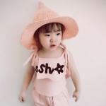 หมวกฟางถักทรงแหลมสีชมพู