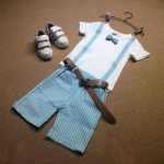เสื้อ+กางเกง สีฟ้า แพ็ค 3 ชุด ไซส์ 120-130-140 (เลือกไซส์ได้)