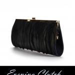 พร้อมส่ง Evening Clutch กระเป๋าออกงาน สีดำ ประดับขนนกหรู ทรง Extra Long