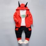 ชุดเซตเสื้อกันหนาวสีแดง+เสื้อแขนยาวสีขาว+กางเกงสีดำ [size 1y-2y-3y-4y]